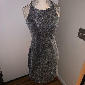Express glitter sparkle silver dress